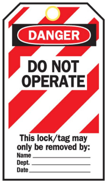 DO NOT OPERATE-RED STRIPE-POLY TAGS c/w ties x25