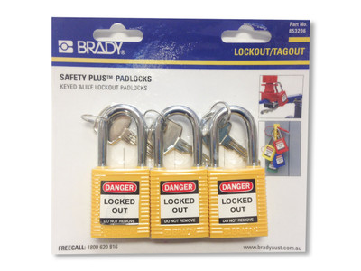 BRADY KEYED ALIKE SAFETY PADLOCKS - YLW PK3