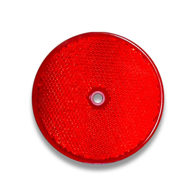 Round Reflector RED 84mm (corner cube plastic delineator)