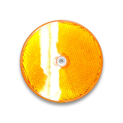 Round Reflector YELLOW 84mm (corner cube plastic delineator)