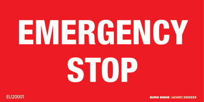 EMERGENCY STOP 100x50 Lasered Traffolyte WHT/RED