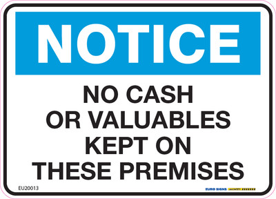 NOTICE NO CASH ON PREMISES 125x90 DECAL