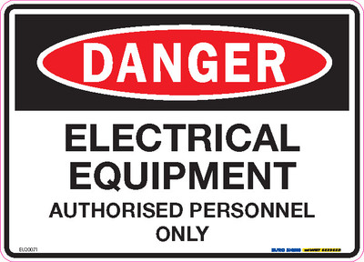 DANGER ELEC EQUIP AUTH PERSONNEL ONLY 250x180 DECAL