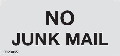 NO JUNK MAIL 75x35 ANOD ALUM/TAPE