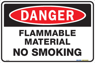 DANGER FLAMMABLE MATERIAL NO SMOKING 450x300 MTL