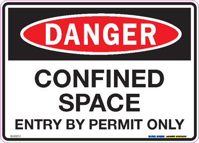 DANGER CONFINED SPACE ENTRY PERMIT 250x180 DECAL