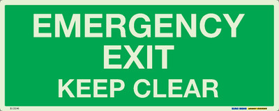 EMERGENCY EXIT KEEP CLEAR 450x180 LUM. DECAL