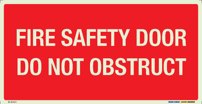 FIRE SFTY DOOR DO NOT OBSTR. 350x180 LUM. DECAL