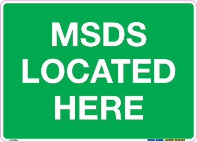 MSDS LOCATED HERE 250x180 DECAL