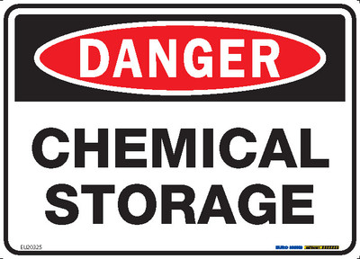 DANGER CHEMICAL STORAGE 250x180 DECAL
