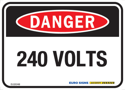 DANGER 240 VOLTS 125x90 DECAL