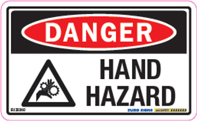 DANGER HAND HAZARD 90x55 DECAL