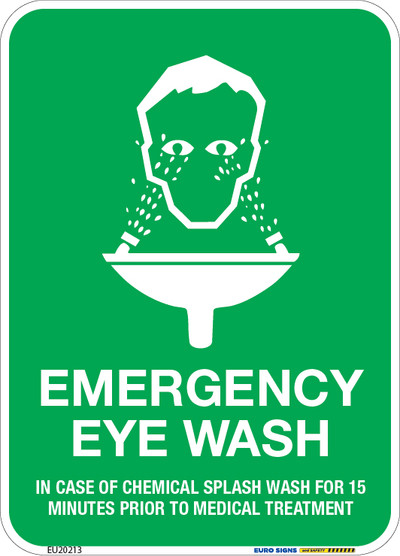 EMERGENCY EYE WASH (in case of...) 90x125 DECAL