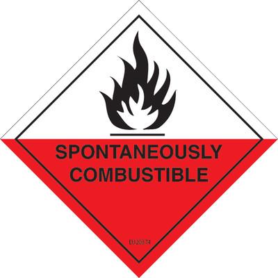 Class Label SPONTANEOUSLY COMBUSTIBLE 4 100x100 DECAL