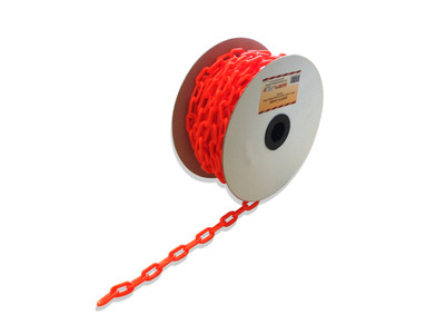 Plastic Safety Chain - ORANGE 6mm x 25 metre roll
