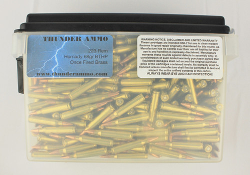 223 68gr BTHP Once Fired Lake City 500 Rounds