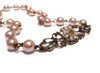 Vintage Pink Faux Pearl Boho Choker Necklace with Crystal from Swarovski Flower