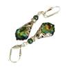 Vintage Inspired Boho Baroque Aquamarine Golden Sahara Crystal Earrings