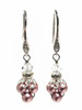 Vintage Dianty Pink Faux Pearl Minimalist Earrings with Crystal from Swarovski