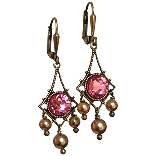 Rose Pink Rhinestone and Simulated Pearl Vintage Inspired Chandelier Earrings