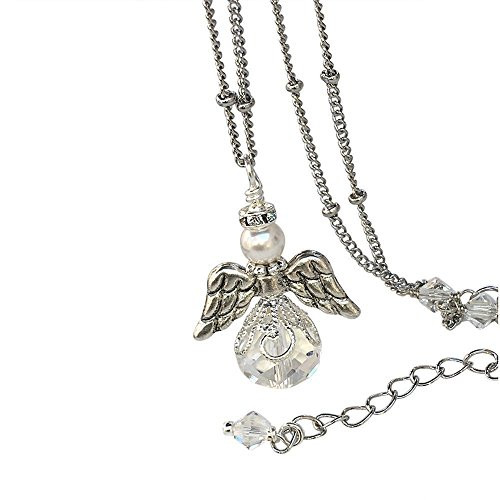 Guardian Angel Wing Charm Crystal Silver-Tone Pendant Necklace