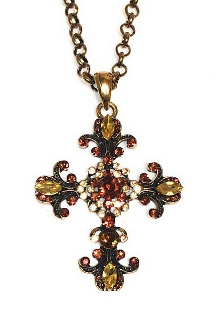 Cross Victorian Rhinestone Crystal Filigree Pendant Necklace