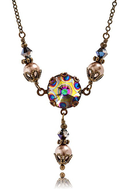 Peacock Crystal Rivoli and Simulated Pearl Pendant Jewelry Necklace