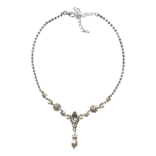 Bridal Rhinestone and Simulated Pearl Pendant Necklace