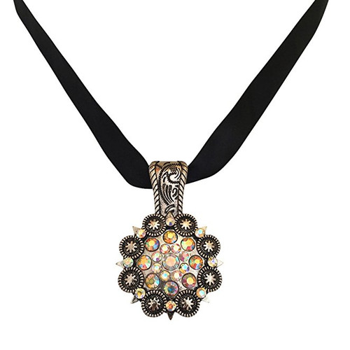 Concho Western Cowgirl Rhinestone Oxidized Silver-Tone Bling Pendant for Necklace