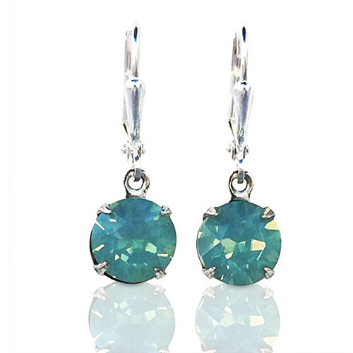 Pacific Blue Chaton Round Stone Crystal Oxidized Silver-Tone Earrings