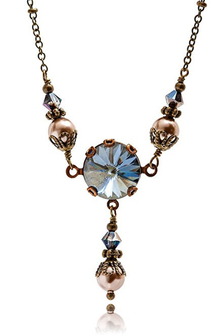 Blue Shade Crystal Round Stone Rivoli Pendant and Simulated Pearl Jewelry Necklace