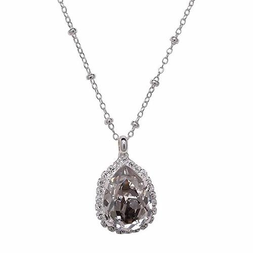 Bridal Crystal Silver-Tone Teardrop Rhinestone Pendant Necklace