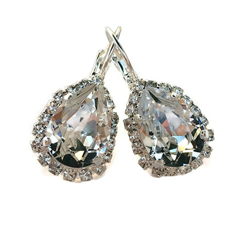 Bridal Teardrop  Rhinestone Silvertone Earrings made with Crystal from Swarovski