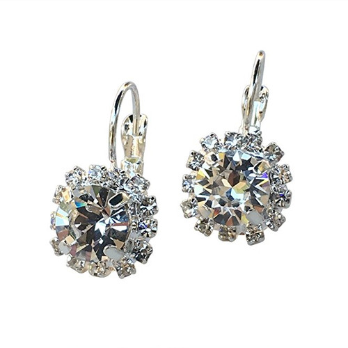 Bridal Clear Chaton Crystal Round Stone Rhinestone Silver-Tone Earrings