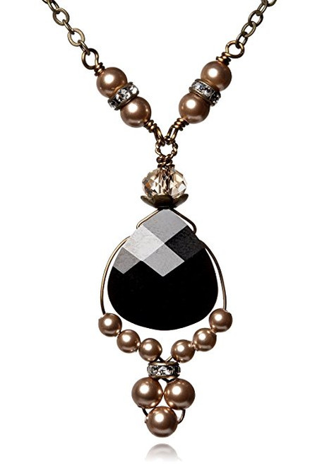 "Jet Black Briolette Pendant Necklace and Simulated Pearls 18""+2"""