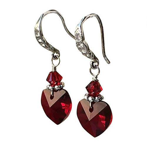 Red Heart Shape Crystal Silver-Tone Filigree Earrings