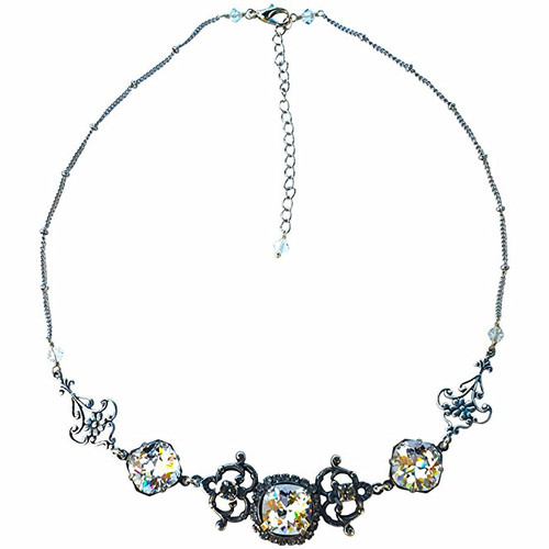 Filigree Cushion Cut Silver-Tone Statement Necklace made with Crystal from Swarovski