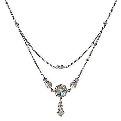 Bridal Round Stone Rivoli Crystal and Simulated Pearl Silver-Tone Vintage Inspired Pendant Necklace