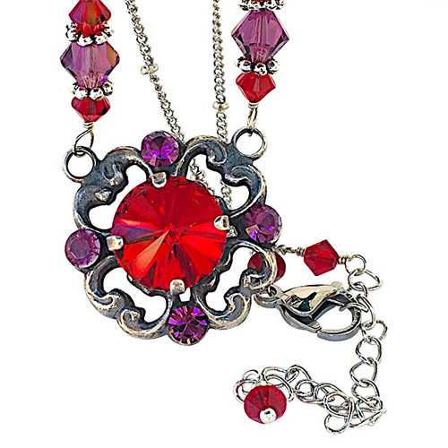 Vintage inspired oxidized silver tone filigree red crystal pendant vintage inspired oxidized silver tone filigree red crystal pendant necklace aloadofball Image collections