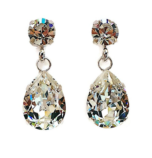Bridal Crystal Teardrop Silver-Tone Stud Chaton Earrings