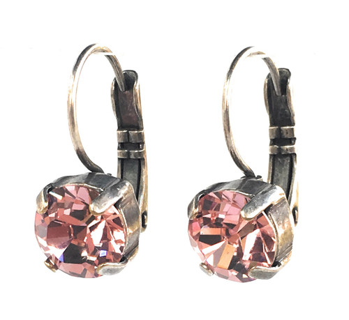 Pink Rose Chaton Oxidized Silver-tone Earrings with Crystal from Swarovski