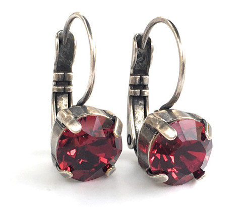 Siam Red Chaton Oxidized Silver-tone Earrings with Crystal from Swarovski