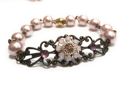 Vintage Pink Faux Pearl Filigree Bracelet with Crystal from Swarovski Flower