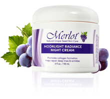 Merlot Moonlight Radiance Night Cream's state-of-the-art peptides and natural grape seed antioxidants combine to effectively combat deep wrinkles, fine lines, and signs of premature aging. The powerful formula locks in moisture to keep skin feeling hydrated and healthy.  With Argireline and Matrixyl-3000.