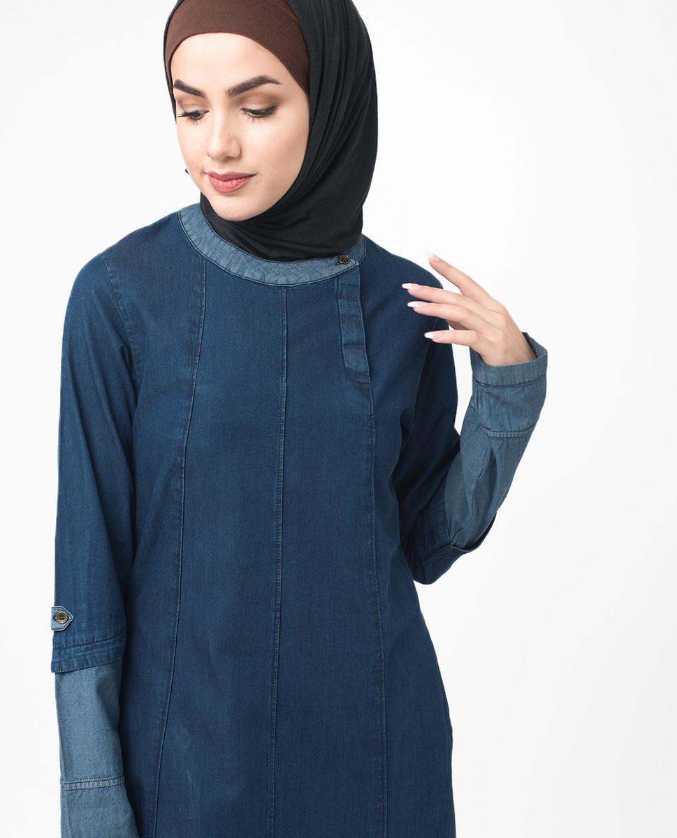 Soft Fine Denim Urban Jilbab, Blue Abaya, Islamic Fashion