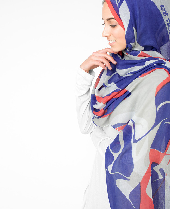True Blue White Hijab