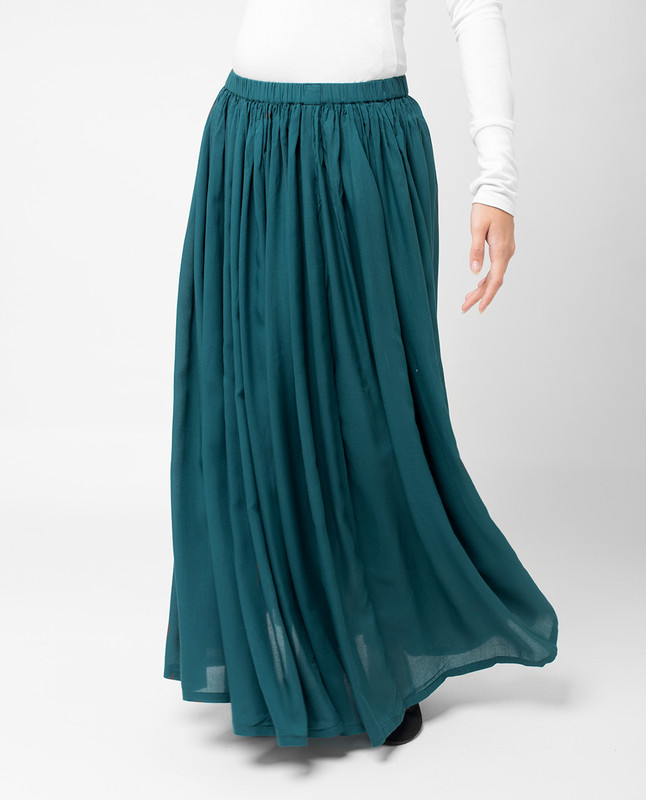 Teal Pleated Skirt