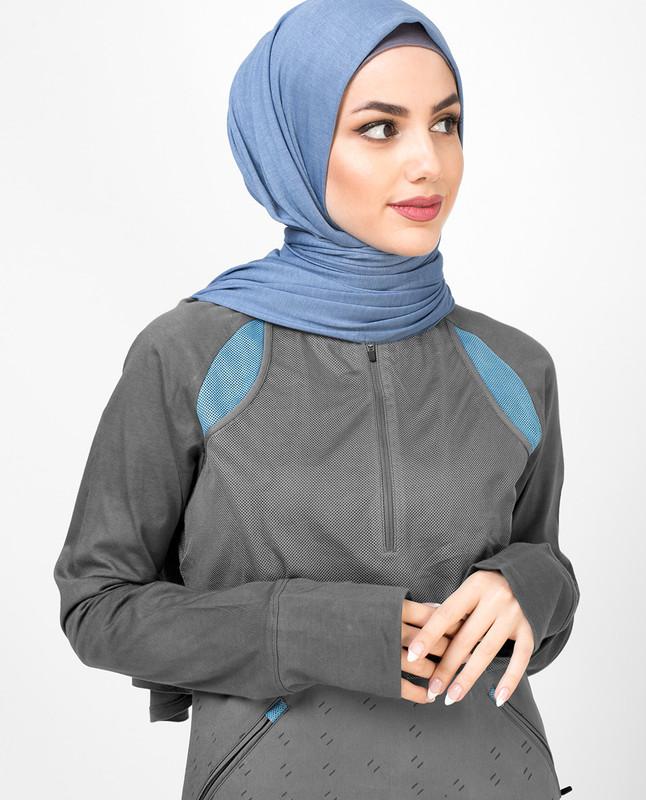 Mesh Body Print Jilbab