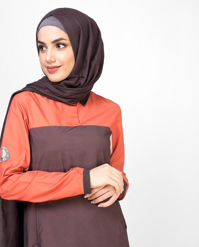Orange Dipped Black Collar Jilbab