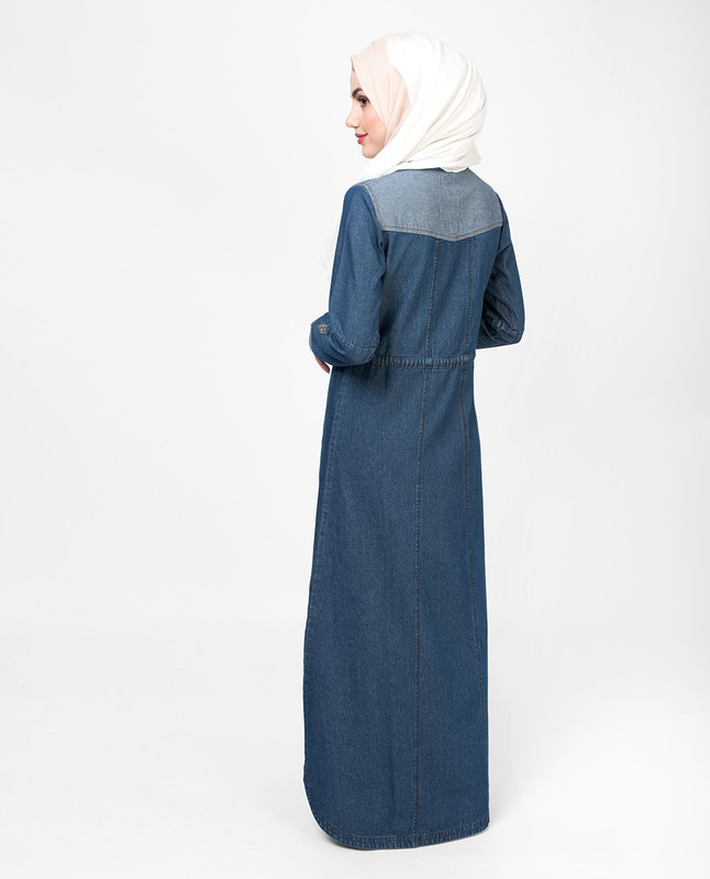 Denim Placket Jilbab